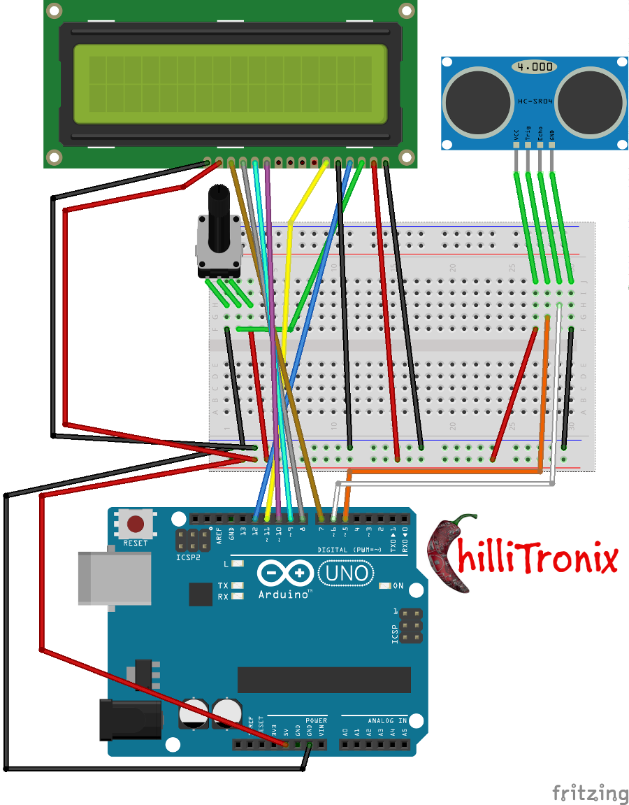 HC-SR04 Ultrasonic rangefinder with LCD screen and Arduino